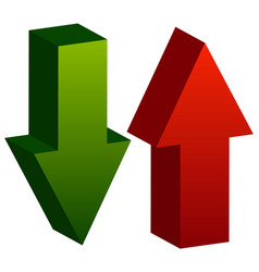 3d arrows point up and down in green and red vector image