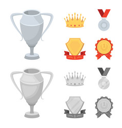 A silver cup a gold crown with diamonds a medal vector