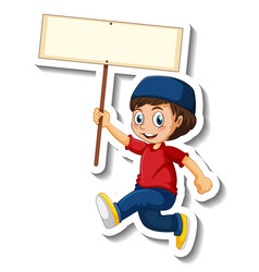 A sticker template with muslim boy holding vector