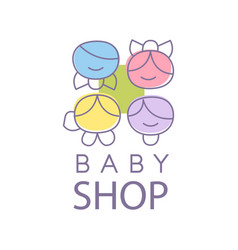 Baby shop logo design emblem with kid faces vector