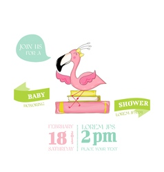 Baby shower card - baby flamingo girl on books vector