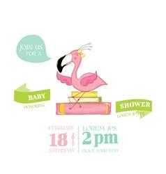 Baby shower card - flamingo girl on books vector