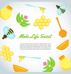background with flat honey elements poster with vector image