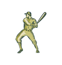 Baseball player batter batting bat etching vector