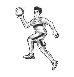 basketball player ball sketch engraving vector image