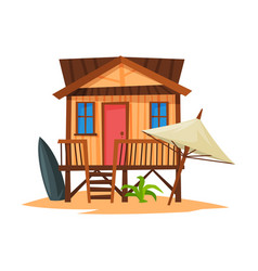 beach bungalow on coast tropical sea summer vector image