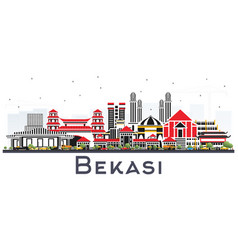 bekasi indonesia city skyline with color vector image