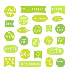 Big set of healthy food badges Bio organic vector