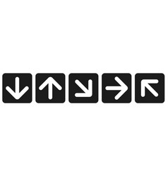 black arrow icons web flat square signs vector image
