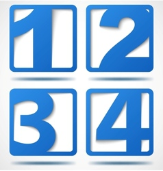 Blue 3d banners with numbers vector