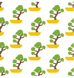 bonsai tree seamless pattern vector image
