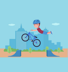Boy performs a stunt on a bmx bike in a park vector