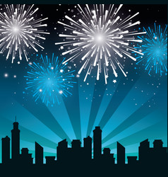 brightly colorful fireworks background vector image
