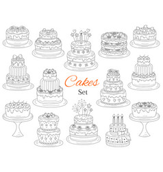 cakes set hand drawn doodle vector image