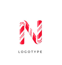Candy letter n with bright red and white stripes vector