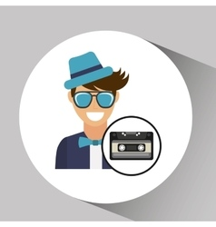 Cassette vintage man style hipster vector