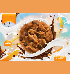 chocolate cookies white milk splash 3d realistic vector image