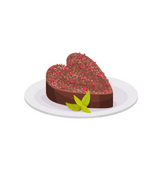 chocolate dessert in shape of heart decorated with vector image