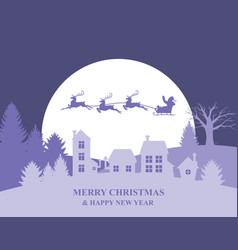 christmas banner with santa claus flying over vector image