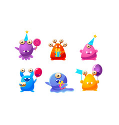 Collection cute funny colorful monsters cartoon vector
