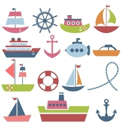 Colorful sea transport set vector