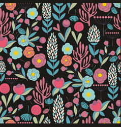 Colorful seamless pattern with flowers vector