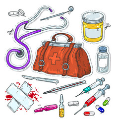 comic style icons sticker of medical tools vector image