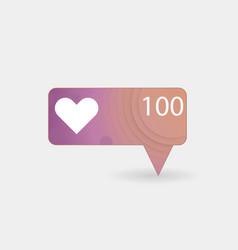 counter notification icon color gradient followe vector image
