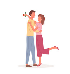 couple people hug and love on date pair man vector image