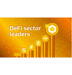 cryptocurrency coins defi sector on gold vector image