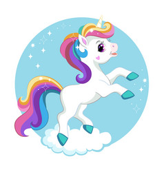 Cute cartoon unicorn with rainbow mane vector
