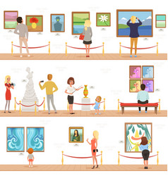 Cute cartoon visitors and guide characters in art vector
