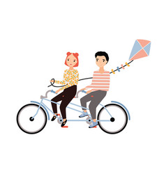 cute couple dressed in trendy clothes riding vector image