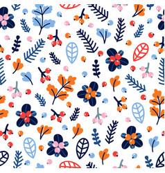 Cute seamless pattern with hand drawn flowers and vector