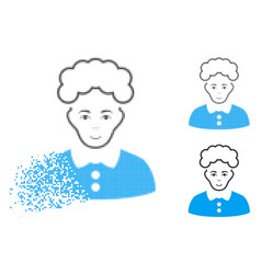 Disappearing dot halftone blonde woman icon with vector