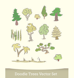 doodle trees set isolated on white background vector image