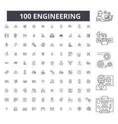 Engineering editable line icons 100 set vector