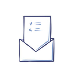 Envelope with opened voting page isolated vector