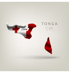 Flag of TONGA as a country with a shadow vector