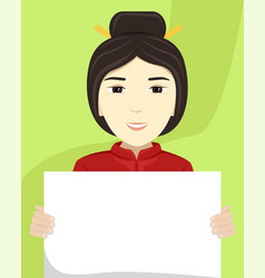 Flat a asian woman with a placard in her hands vector
