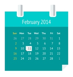 Flat calendar page for February 2014 vector image