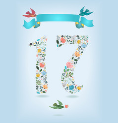 floral number seventeen with ribbon and birds vector image