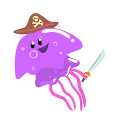 funny cartoon purple jellyfish pirate in a hat vector image