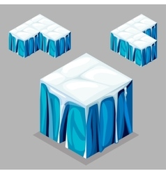 Game block isometric cubes iceberg glacier vector