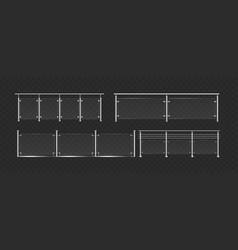 glass balustrade with steel handrails set 3d vector image