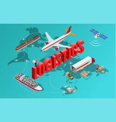 global logistics network flat 3d isometric vector image