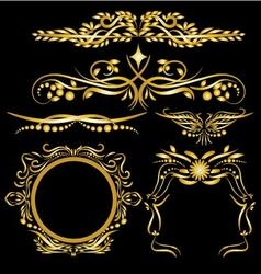Gold Color Vintage Decorations Elements Flourishes vector image