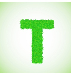 grass letter T vector image
