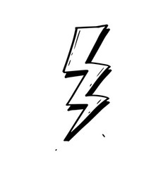 hand drawn doodle electric lightning bolt symbol vector image