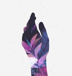 hand silhouette floral violet tones vector image